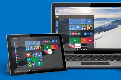 Interface de Windows 10 sur un PC et une tablette tactile