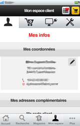 Espace client sur l'application iPhone Darty