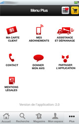 Menu Plus de l'application iPhone Darty