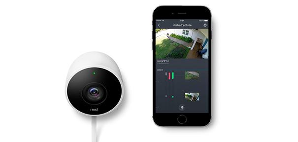 test nest cam outdoor surveiller votre maison depuis votre mobile darty vous. Black Bedroom Furniture Sets. Home Design Ideas