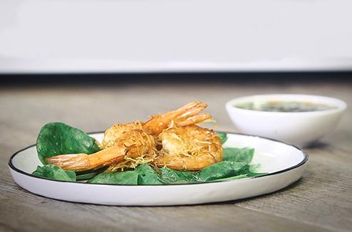 Recette de gambas en kadaïf sauce piquante avec la fonction Crisp