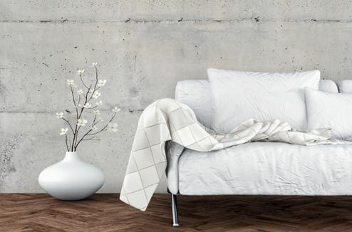 Salon avec mur en béton