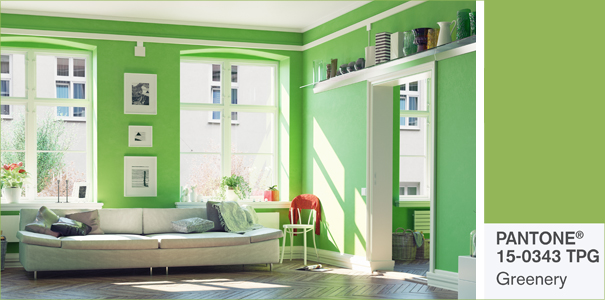 Tendance d co le vert greenery lu couleur pantone de l - Couleur avec le vert ...