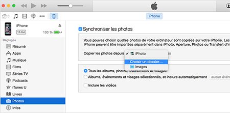 Menu synchronisation des photos d'un iDevice avec iTunes