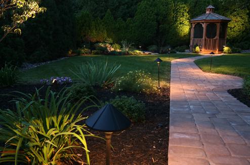 Une partie de jardin éclairé