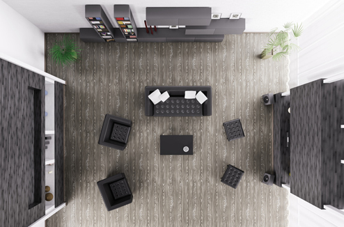 Salon design sonorisé avec des enceintes Multiroom