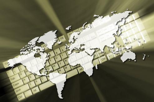 Carte du monde sur un clavier