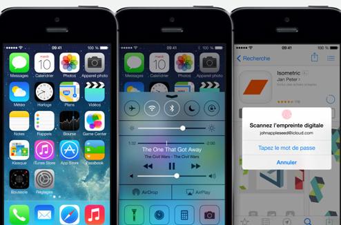 iPhone 5S : interface iOS 7