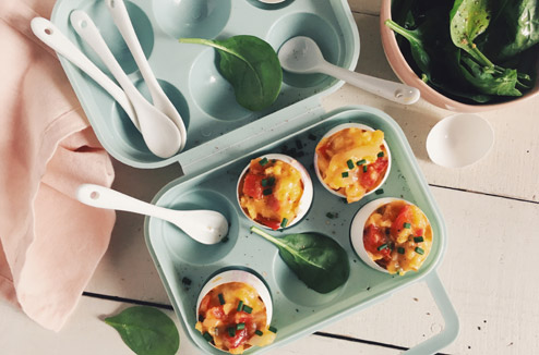 Brouillade d'œufs au poivrons rouge et au Cheddar