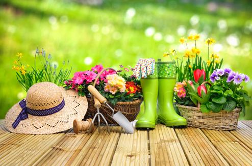 Relooking du jardin : outils, bottes et fleurs