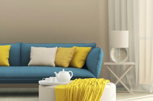 10 canap s qui osent la couleur darty vous for Salon jaune et bleu