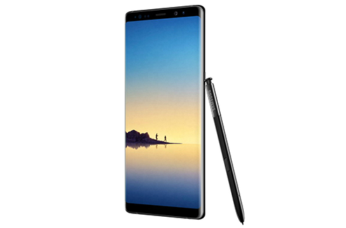 Samsung Galaxy Note 8 en noir avec son stylet S Pen