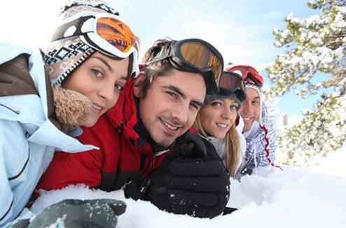 Un selfie de groupe au ski