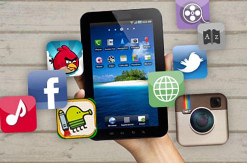 Tablette tactile avec des applications