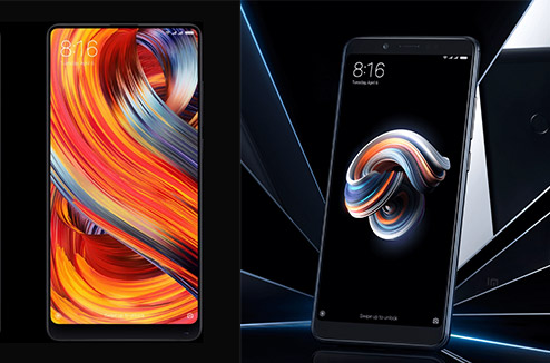 Xiaomi Mi Mix 2 et Xiaomi Redmi Note 5