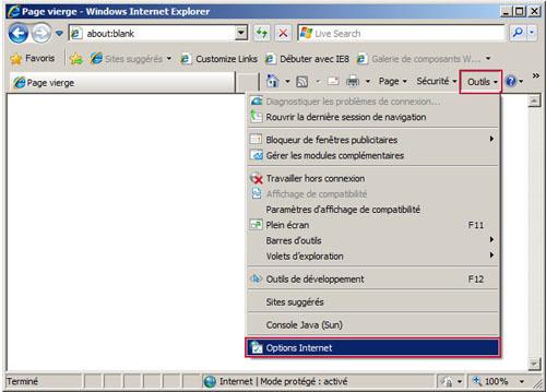 Conna tre les options internet for Fenetre windows outils