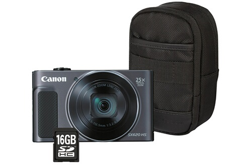 Appareil photo compact Canon POWERSHOT SX620 HS NOIR + ETUI + SD 16GO